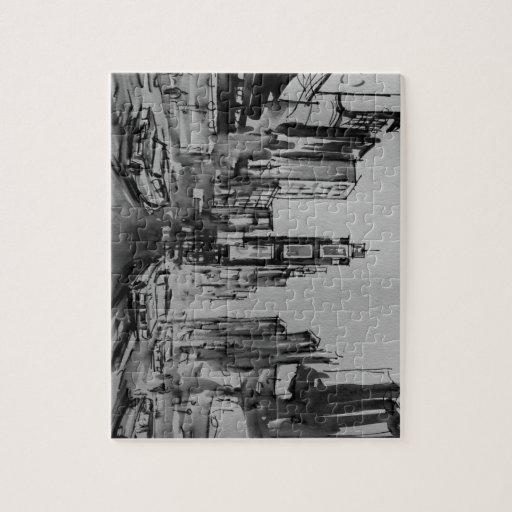 Times Square en rompecabezas blanco y negro/rompec