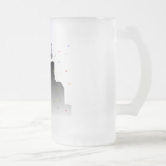 times square frosted glass beer mug