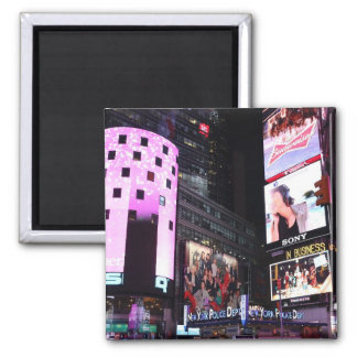 Times Square in New York City (pink) 2 Inch Square Magnet