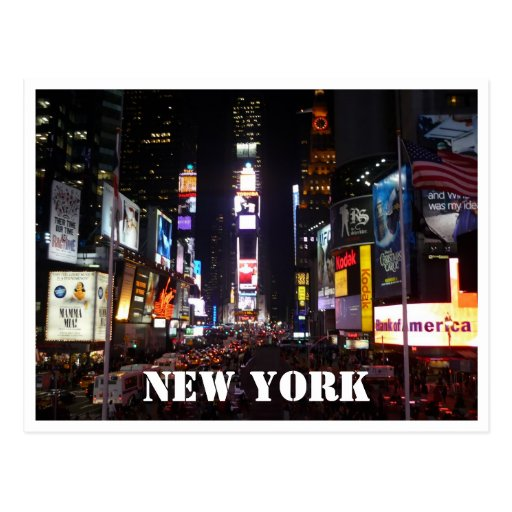 times square lights post card