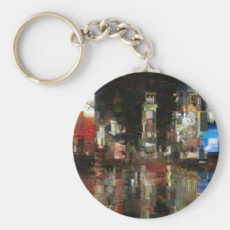 times square mosaic basic round button keychain