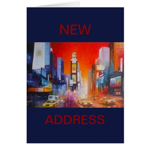 Times Square New Address Card