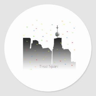 times square new years classic round sticker