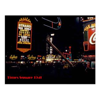 Times Square, New York City, Color Neon Photo 1941 Postcard