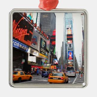 Times Square, New York City, los E.E.U.U. Adorno Navideño Cuadrado De Metal