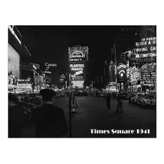 Times Square, New York City, Neon Photo From 1941 Postcard
