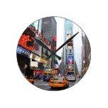 Times Square, New York City, USA Round Wall Clock