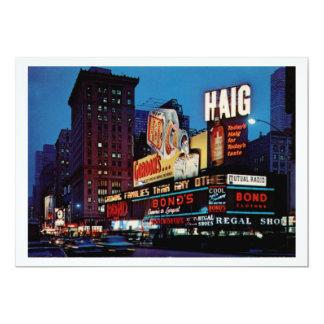 Times Square, New York City Vintage 5x7 Paper Invitation Card