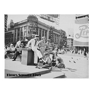 Times Square, New York City, World War 2 Era Photo Postcard