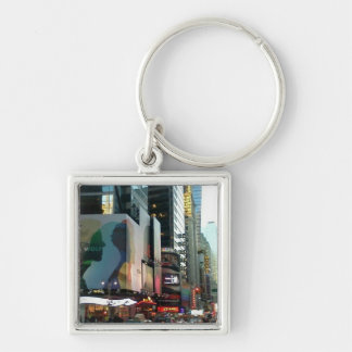 Times Square NYC 2012 Silver-Colored Square Keychain