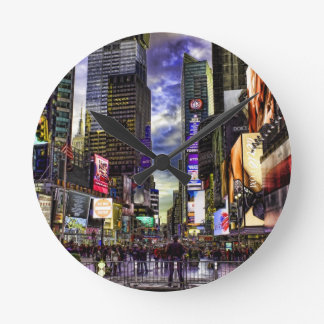 Times Square Photo in HDR Round Wallclock