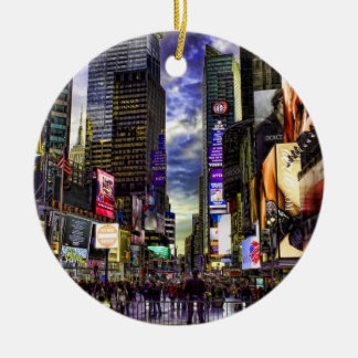 Times Square Photo in HDR Double-Sided Ceramic Round Christmas Ornament