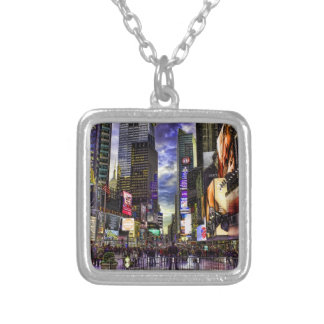 Times Square Photo in HDR Silver Plated Necklace
