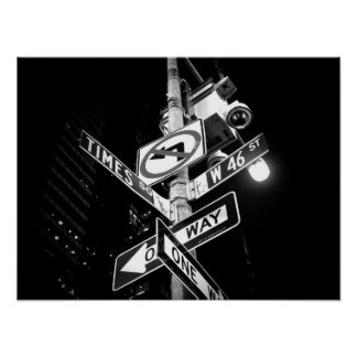 Times Square road signs in black and white