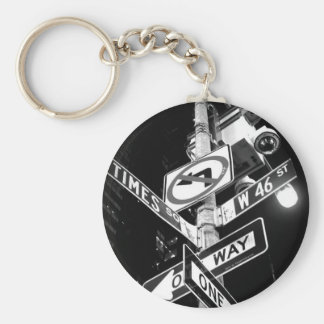 Times Square road signs in black and white Keychain
