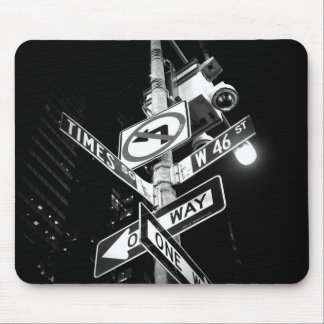 Times Square road signs in black and white Mouse Pad
