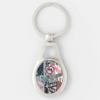 Times Square Signs Silver-Colored Oval Metal Keychain