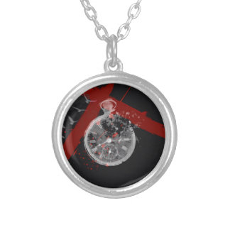 Time's ticking round pendant necklace