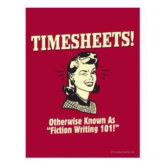 Timesheets: Fiction Writing 101 Postcard