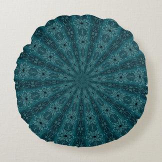 Timeworn Blue Burst Pattern Round Pillow