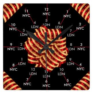 Timezone dual NYC Londres Reino Unido CricketDiane Reloj Cuadrado
