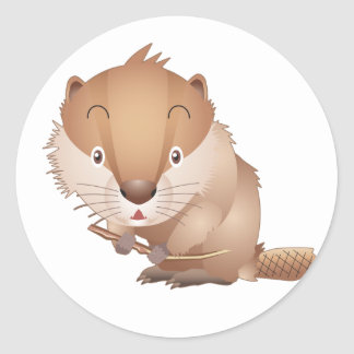 Timid Beaver Round Stickers
