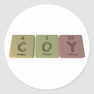 Tímido como oxígeno Yttirum del carbono Pegatina Redonda
