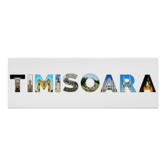 timisoara city romania landmark inside text symbol poster
