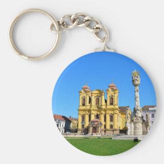 timisoara romania church dome landmark unirii squa basic round button keychain