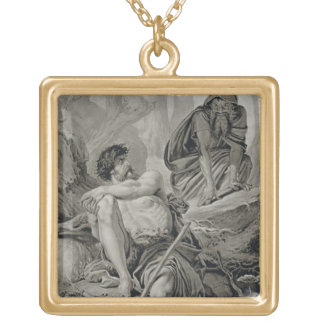 Timon and Apemantus, from Timon of Athens by Willi Gold Plated Necklace