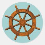 Timón de madera de las naves etiquetas redondas
