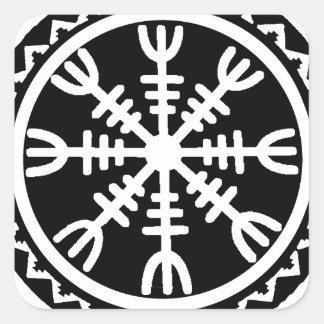 Timón de Viking del temor Calcomanía Cuadradas Personalizadas