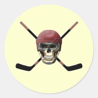 Timón del cráneo del hockey etiqueta redonda