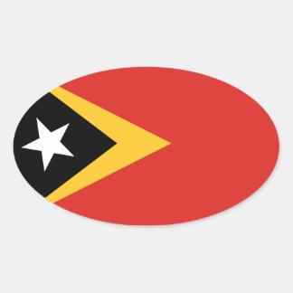 Timor* Flag Euro-style Oval Sticker