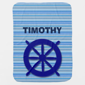 TIMOTHY BABY BOY sea ship boat sail water nautical Receiving Blanket