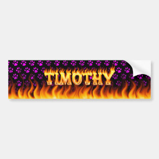 Timothy real fire and flames bumper sticker design