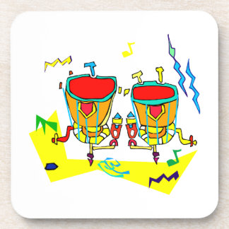 Timpani drums in abstract colours, typmani drum drink coaster