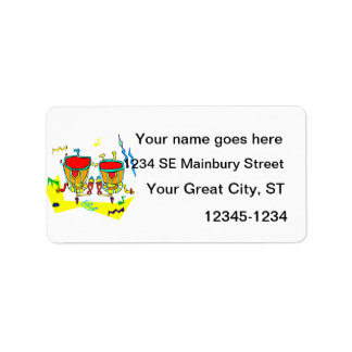 Timpani drums in abstract colours, typmani drum personalized address labels