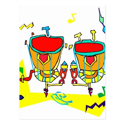 Timpani drums in abstract colours, typmani drum postcard
