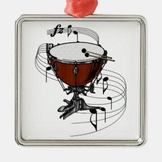 Timpani (Kettle Drum) Square Metal Christmas Ornament