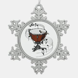 Timpani (Kettle Drum) Snowflake Pewter Christmas Ornament