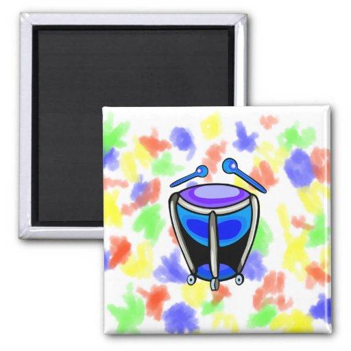 Timpani Simple Graphic Mallets, Blue Version 2 Inch Square Magnet