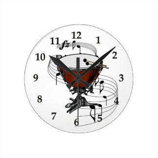 Timpani (tambor de la caldera) reloj redondo mediano