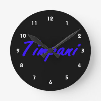 timpani text blk outline blue.png wall clock