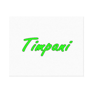 timpani text blk outline bright green.png stretched canvas print