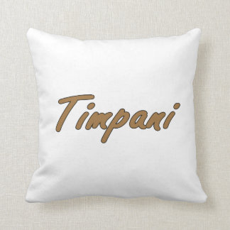 timpani text blk outline brown.png throw pillow