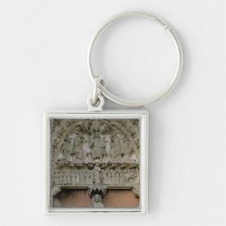 Tímpano porta del sur que representa w Enthroned C Llavero Cuadrado Plateado