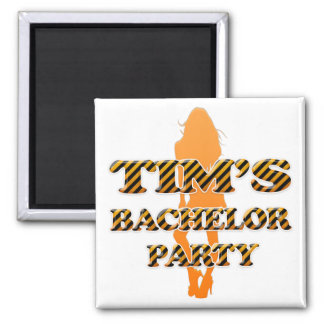 Tim's Bachelor Party 2 Inch Square Magnet
