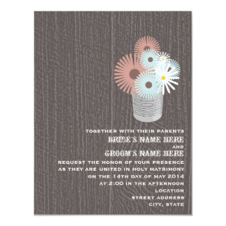 Tin Can Of Peach & Blue Floral Wood Wedding Invite