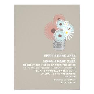 Tin Can Of Peach & Blue Flowers Wedding Invite